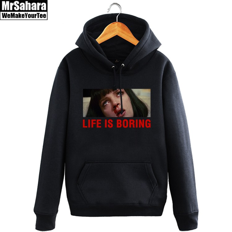 Merch Hoodie Pulp Fiction Life Is Boring Pullover
