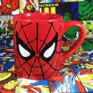 Buy Ceramic Mug Spider man Mask red Web Cup merchandise collectibles