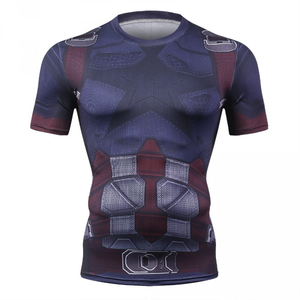 Avengers 3 Captain America 3D Printed T shirts Men Compression Shirt 2018 Cosplay Short Sleeve Crossfit Tops For Male Fit Cloth 3