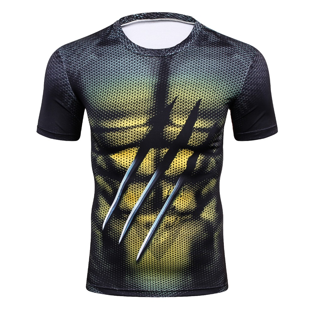 Men Funny 3D printing Compression Breathable T Shirts Bodybuilding Weight lifting Base Layer Fitness Tight Tops Workout T-shirt