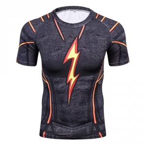 Cool Men Black Flash 3D Printing Compression Shirt Avengers Costume Comics Superhero T Shirts Youth Fitness Tights Tops & Tees