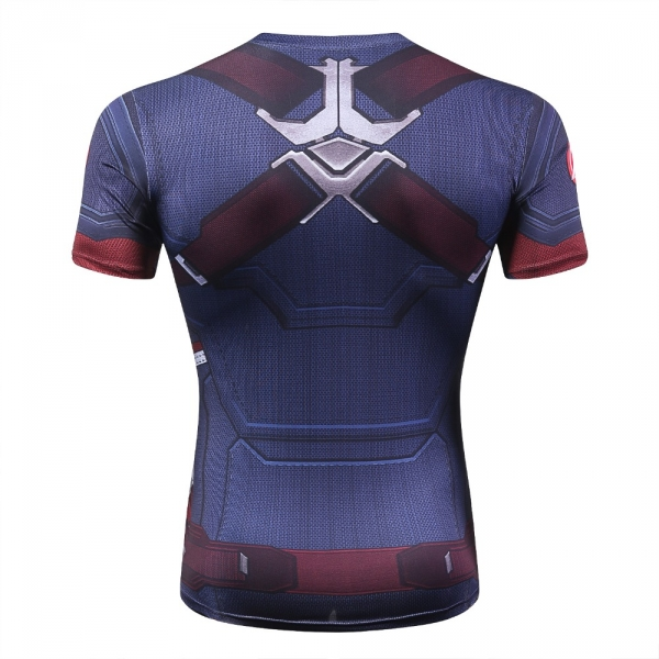 Captain America Men's Fitness T-shirt Marvel Heroes Replica 3 Clothes 2018 Cosplay Short Sleeve Crossfit Tops For Male Fit Cloth 5