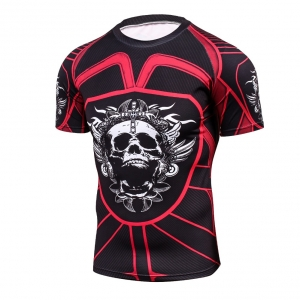2018 Fitness MMA Compression Shirt Men Anime Bodybuilding Short Cool skull punisher 3D Printed T shirt Youth High elastic T-shir 1