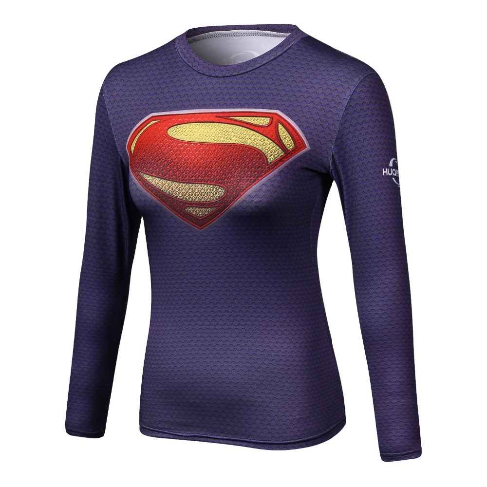 2018 Superman T-shirts Women Long Sleeve Fitness Tee shirt Woman Superhero T Shirt Compression Tops Camisetas Mujer Quick Dry