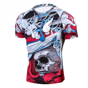 3D Prints Compression Shirts for Men Short Sleeves T Shirt Multi-functional 2018 Wear Elastic Workout Fitness Undershirt Tops fo 1