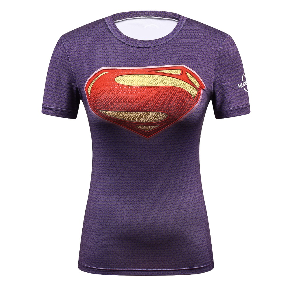 Female Casual T Shirt Superhero Women Superman/Captain America/Spiderman/Batman Shirts Bodybuilding Compression Tops