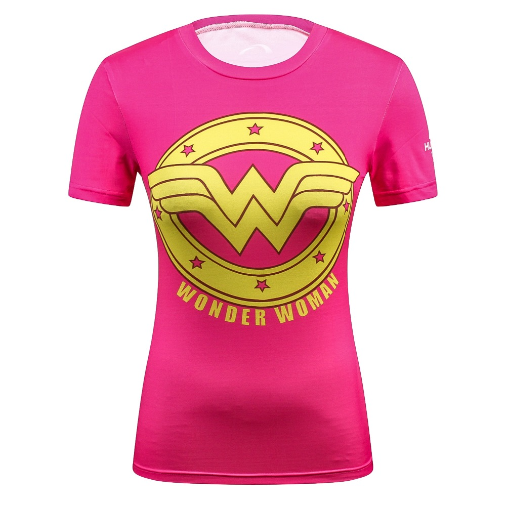 2018 Female Casual T Shirt Superhero Women Superman/Captain America Batman Shirts Bodybuilding Compression Tops