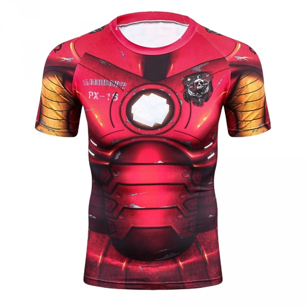 Iron man 3D Printed T shirts Men Compression Shirt New Spiderman Cosplay Short Sleeve Crossfit Tops For Male Fitness Clothes