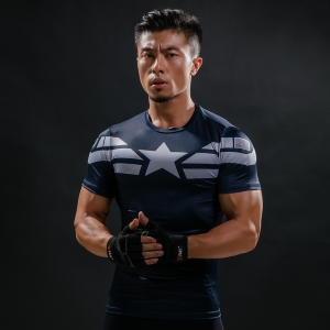 Mens Fitness 3D Prints Captain America T Shirt Men Bodybuilding Skin Tight Thermal Compression Shirts Summer Workout tee shirt 1