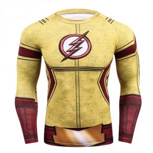 2018 FLASH Compression Shirt Men 3D Printed T-shirts Men Raglan Long Sleeve Cosplay Costume Tops Male fitness body building Clot 1