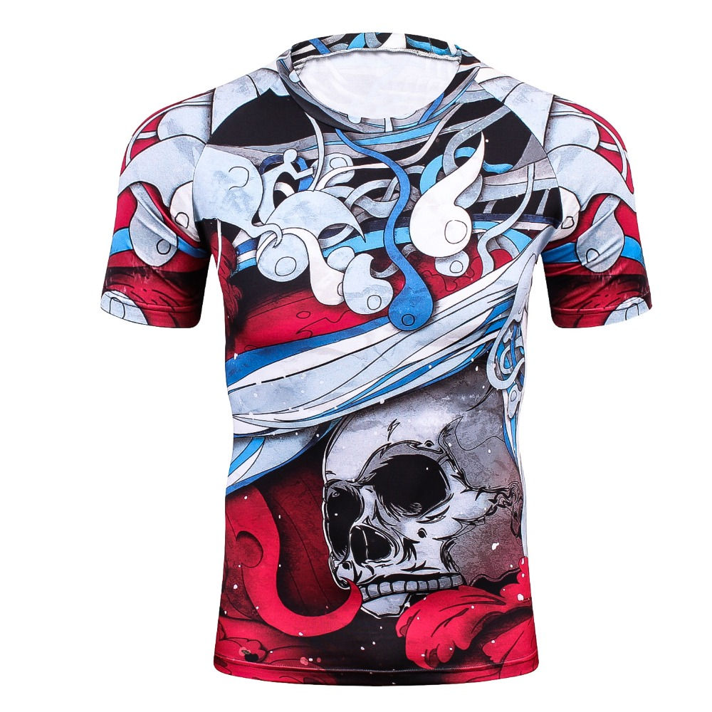 3D Prints Compression Shirts for Men Short Sleeves T Shirt Multi-functional 2018 Wear Elastic Workout Fitness Undershirt Tops fo