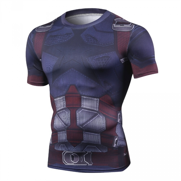 Captain America Men's Fitness T-shirt Marvel Heroes Replica 3 Clothes 2018 Cosplay Short Sleeve Crossfit Tops For Male Fit Cloth 1