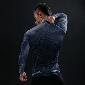 Black Lightning 3 D Printed T-shirts Men Long Sleeve Compression Shirt Flash Cosplay Costume crossfit fitness Clothing Tops Male 1