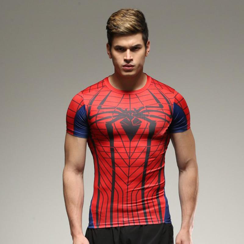 Hot sales 2018 NEW Men Fitness Tights Quick Dry Fit T Shirt 28 Colors pro combat tops