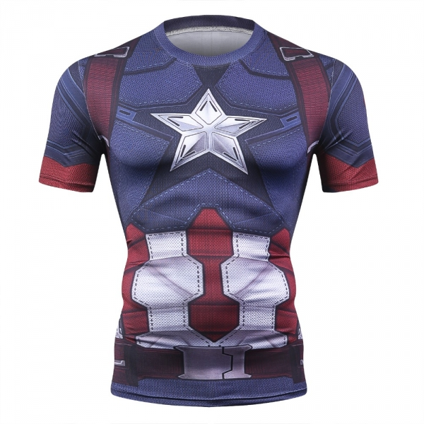 Captain America Men's Fitness T-shirt Marvel Heroes Replica 3 Clothes 2018 Cosplay Short Sleeve Crossfit Tops For Male Fit Cloth 3
