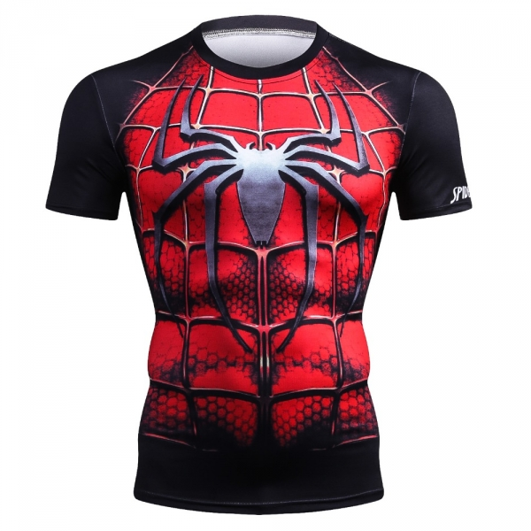 New Arrival Men Fitness 3D T-Shirt Spiderman Print Bodybuilding Crossfit T-Shirts Quick Dry Compression Shirts Brand Clothing