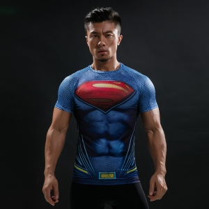 Batman VS Superman T Shirt Tee 3D Printed T-shirts Men Short Raglan sleeve Fitness Cosplay Costume Slim Fit Compression Top Mal