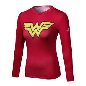 2018 Ladies Comics Marvel Superman Captain America Wonder Women's Compression Shirts Long sleeve TShirt Female Fitness Tights S 1