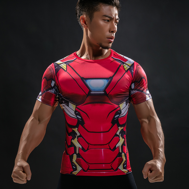 Compression Shirt Raglan Sleeve 3D Printed T-shirts Men 2016 Summer Fitness Male Quick Dry Bodybuilding Crossfit Tops2018