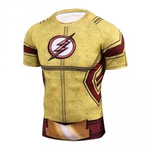 2018 Yellow FLASH Compression Shirt 3D Printed T-shirts Men Raglan Short Sleeve Crossfit Fitness Cloth Tops Male Cosplay Costume 1