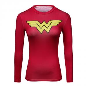 2018 Ladies Comics Marvel Superman Captain America Wonder Women's Compression Shirts Long sleeve TShirt Female Fitness Tights S