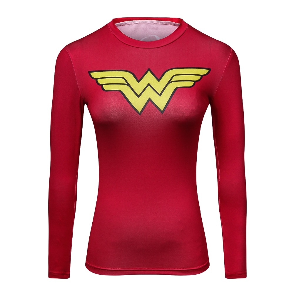 2018 Ladies Comics Marvel Superman Captain America Wonder Women's Compression Shirts Long sleeve TShirt Female Fitness Tights S
