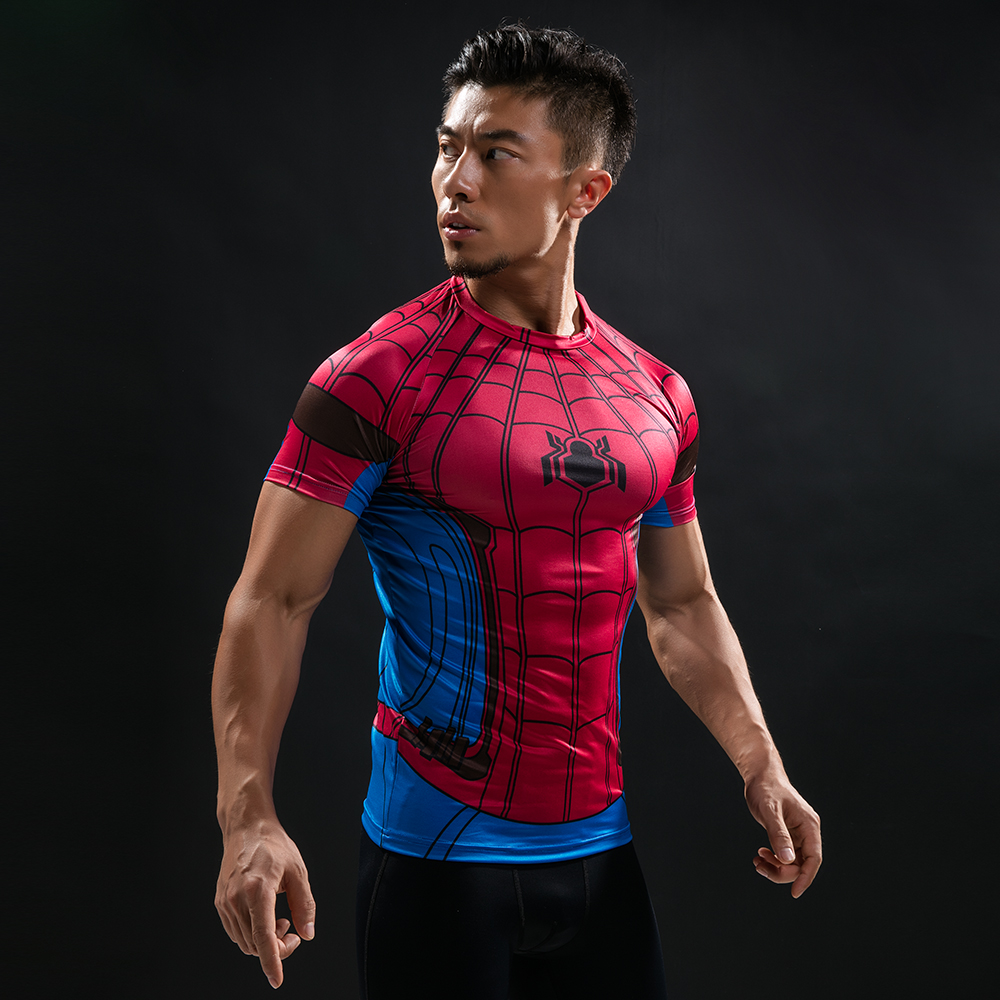 Spider Man 3D Printed T Shirt Captain America Civil War Tee Men Avengers Short Raglan sleeve Fitness Cosplay Slim Fit Tops Male