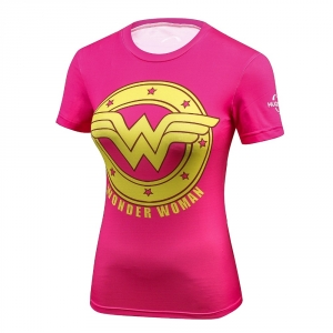 2018 Female Casual T Shirt Superhero Women Superman/Captain America Batman Shirts Bodybuilding Compression Tops 1