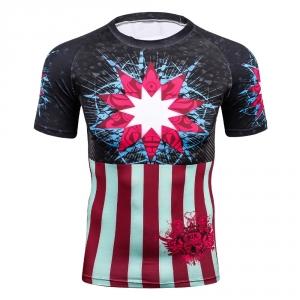 2018 Man's New 3D Prints Tight Base Layer Men Compression Shirts Fix Gear MMA Rushguard Short Sleeves T-Shirt Short Fitness Tees