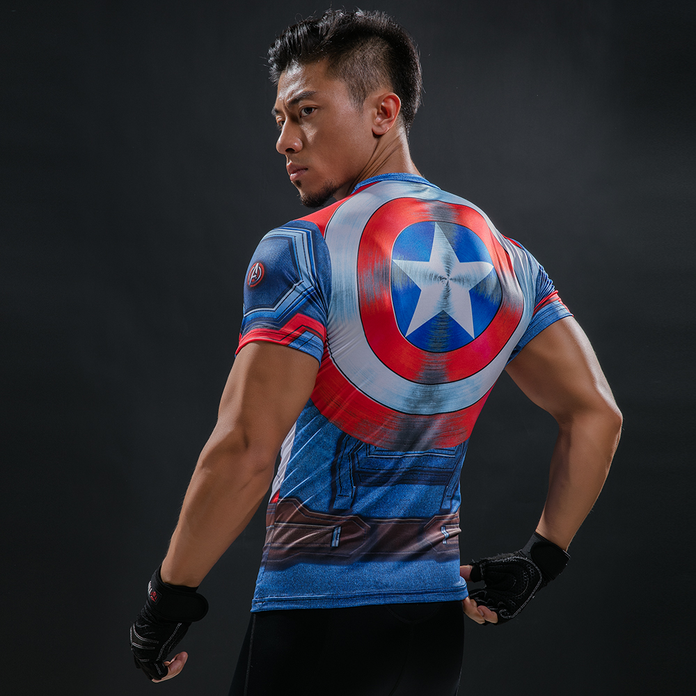 Super hero Crossfit Tops Men's Cool Dry Skin Fit Short Sleeve Compression Shirt Bodybuilding T Shirt