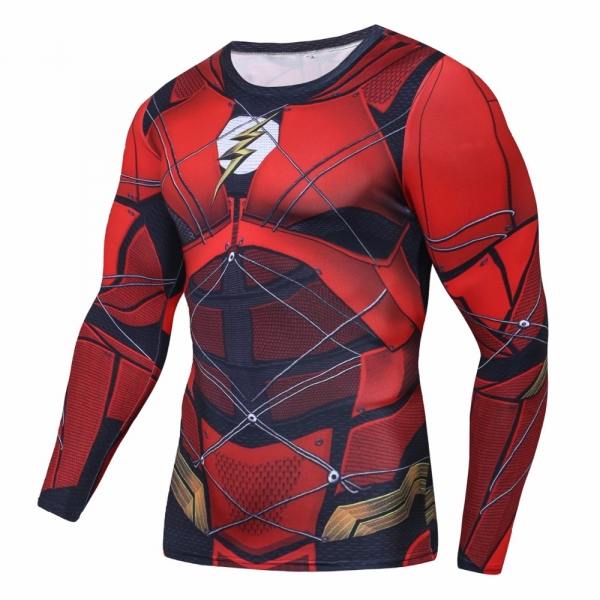 2018 Flash 3D Printed Compression Shirt T-shirts Print Fitness Top Red Flash Cosplay Costume Fitness movement Clothing Male Tops 2