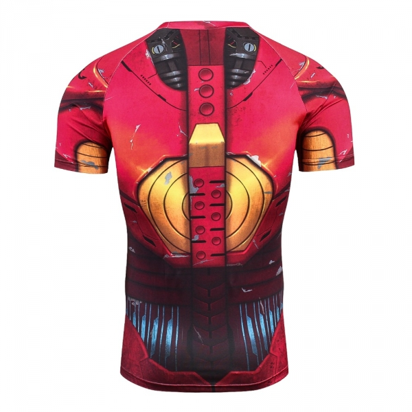 Iron man 3D Printed T shirts Men Compression Shirt New Spiderman Cosplay Short Sleeve Crossfit Tops For Male Fitness Clothes 2