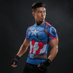 Super hero Crossfit Tops Men's Cool Dry Skin Fit Short Sleeve Compression Shirt Bodybuilding T Shirt 1