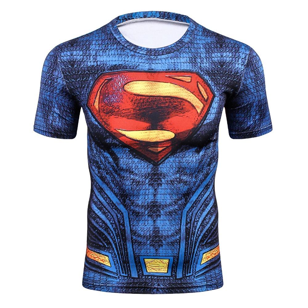 2018 New Hot Sale Slim Fit Marvel Captain Superman batman spiderman Print 3D Compression T shirt Men Thermal Tees Fitness Tights