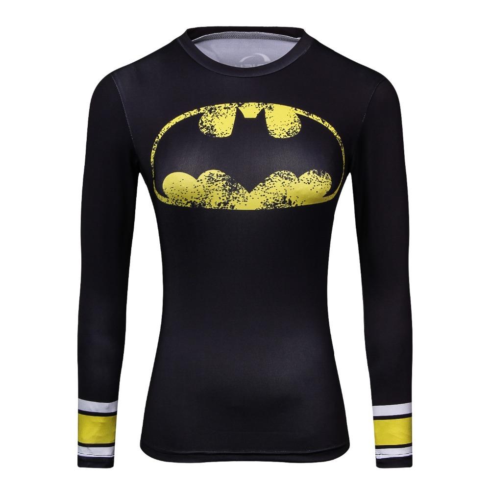 Compression Shirt Spiderman 3D Printed T Shirt Women Raglan Long Sleeve Captain America Cosplay Costume Quick Dry Tops Female