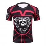 2018 Fitness Mma Compression Shirt Men Anime Bodybuilding Short Cool Skull Punisher 3D Printed T Shirt Youth High Elastic T-Shir