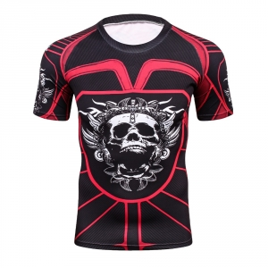 2018 Fitness MMA Compression Shirt Men Anime Bodybuilding Short Cool skull punisher 3D Printed T shirt Youth High elastic T-shir