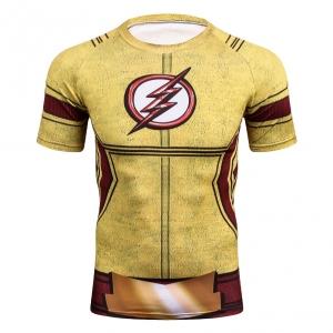2018 Yellow FLASH Compression Shirt 3D Printed T-shirts Men Raglan Short Sleeve Crossfit Fitness Cloth Tops Male Cosplay Costume