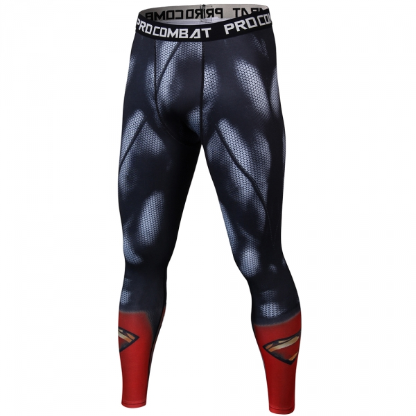 Superman 3D Printed Pattern Compression Tights Pants Men Superhero Tight Sweatpants Fitness Skinny Leggings Trousers Male Cloth 2