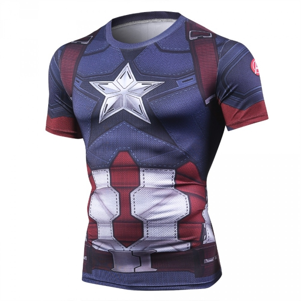 Captain America Men's Fitness T-shirt Marvel Heroes Replica 3 Clothes 2018 Cosplay Short Sleeve Crossfit Tops For Male Fit Cloth 4
