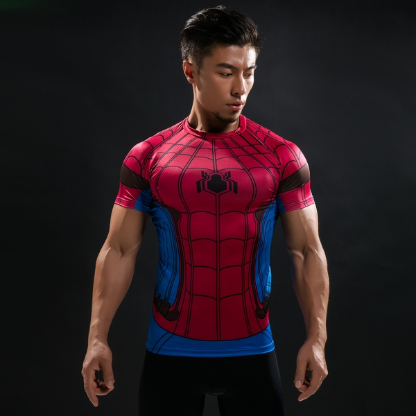 Buy T shirt Rash guard Mens: Spider man 2017 Workout Gear for GYM merchandise collectibles