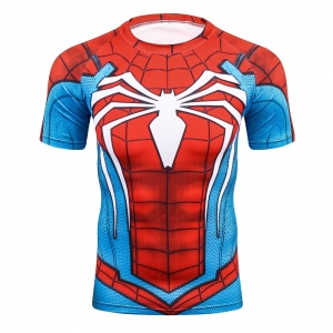 2Raglan Sleeve Compression Shirts Spiderman 3D Printed T Shirts Men 2017 New Crossfit Tops For Male Fitness Bodybuilding Clothin
