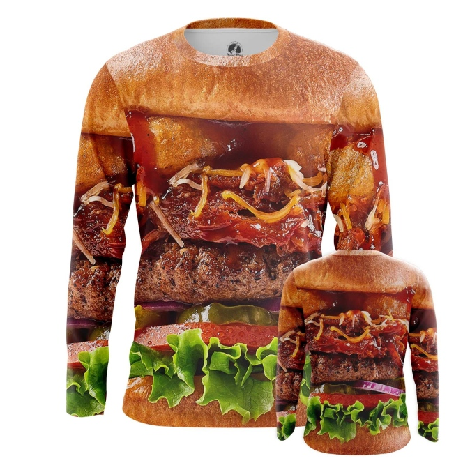 Buy Long sleeve mens t shirt Tasty Food Art Fun Burger Apperel Meat merchandise collectibles