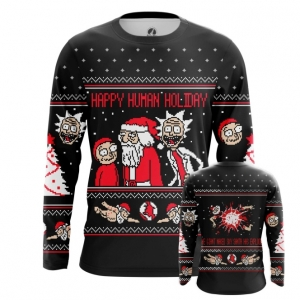 Buy Long sleeve mens t shirt Happy Human Holiday Rick and Morty Apparel merchandise collectibles