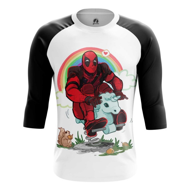 Buy Raglan sleeve mens t shirt Deadpool Rainbow Unicorn Apparel Merchandise collectibles