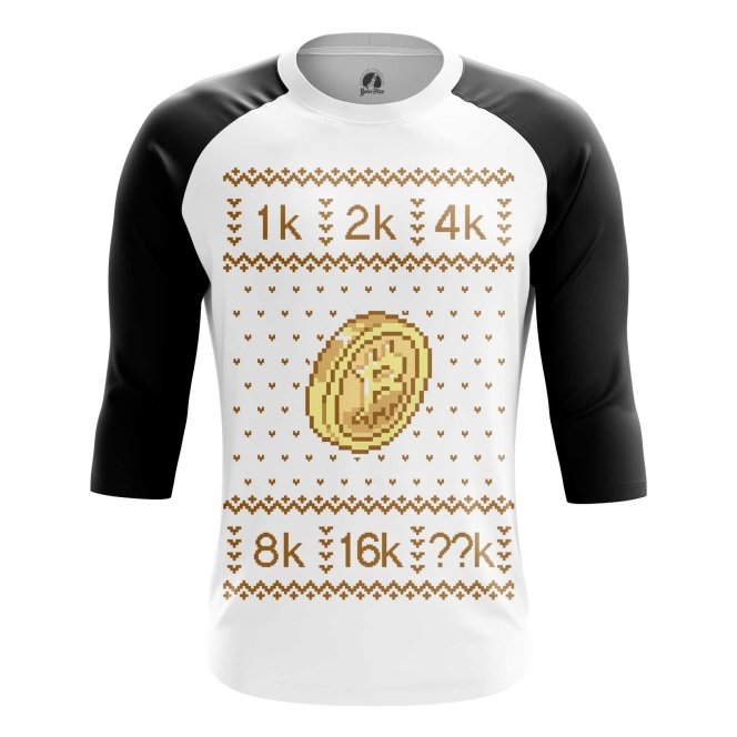 Buy Raglan sleeve mens t shirt Bitcoin Christmas Special New Year Pattern Merchandise collectibles