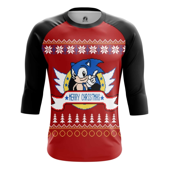 Buy Raglan sleeve mens t shirt Sonic sonic the hedgehog X mas Christmas Special merchandise collectibles