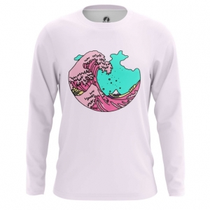 Buy Long sleeve mens t shirt The Great Wave off Kanagawa Art 3D Japan Illustration merchandise collectibles