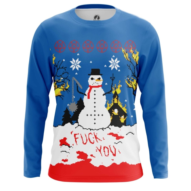 Buy Long sleeve mens t shirt Christmas of white Snowman Satan Killer merchandise collectibles