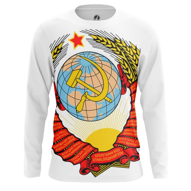Buy Long sleeve mens t shirt USSR Coat Hammer and sickle Soviet Union Merchandise collectibles